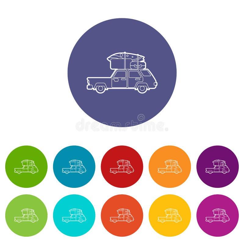 Download Vijfdeursautoauto Met De Pictogrammen Van De Ladingsbagage Geplaatst Vectorkleur Vector Illustratie - Illustratie bestaande uit toerisme, opslag: 114225577
