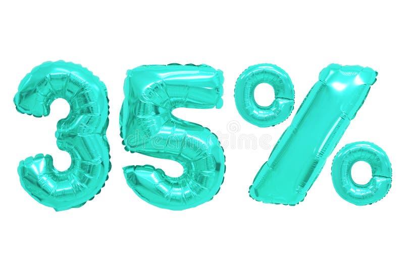 Vijfendertig percenten van ballons turkooise kleur royalty-vrije stock fotografie