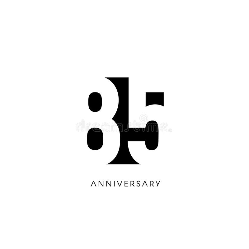 Vijfentachtig verjaardag, minimalistic embleem Tachtig-vijfde jaren, 85ste jubileum, groetkaart Verjaardagsuitnodiging 85 royalty-vrije illustratie