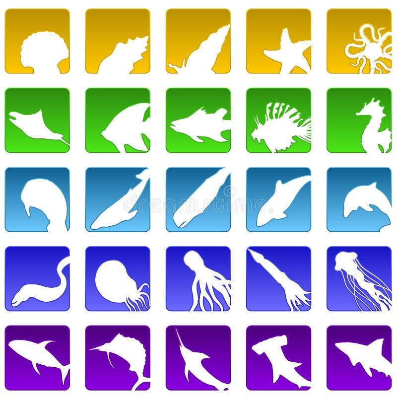 Vijfentwintig sealifepictogrammen stock illustratie