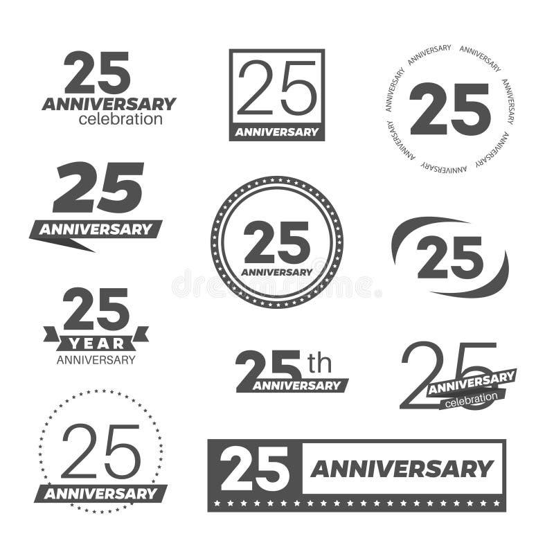 Vijfentwintig van de verjaardagsjaar viering logotype de 25ste inzameling van het verjaardagsembleem vector illustratie