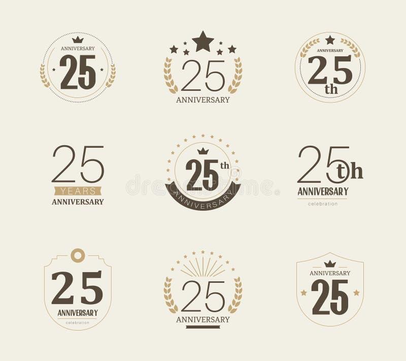 Vijfentwintig van de verjaardagsjaar viering logotype de 25ste reeks van het verjaardagsembleem royalty-vrije illustratie