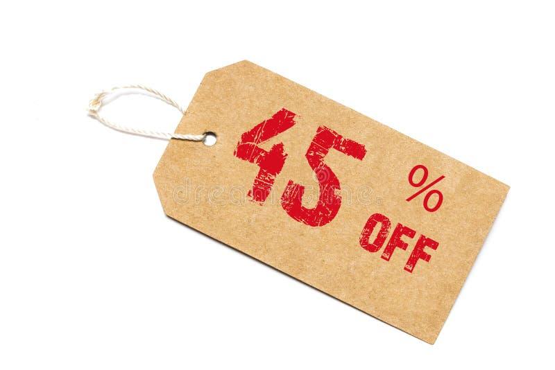 Vijfenveertig percenten van korting - een document prijskaartje op witte bac stock afbeelding