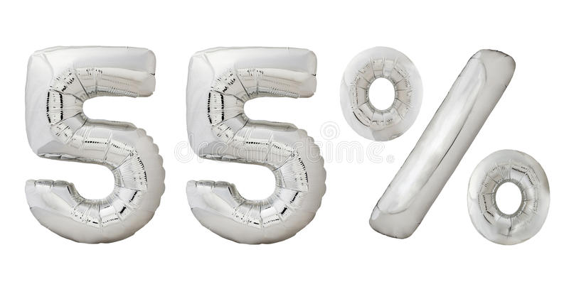 Vijfenvijftig percenten verchromen metaalballons royalty-vrije stock fotografie