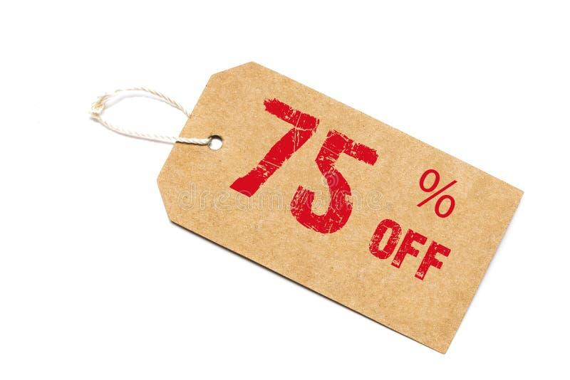 Vijfenzeventig percenten van korting - een document prijskaartje op witte B stock foto's