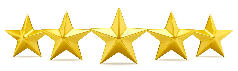 Vijfsterrenclassificatie glanzende gouden sterren royalty-vrije illustratie