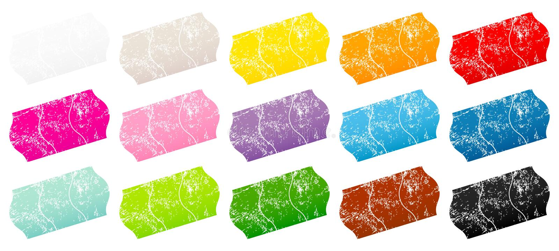 Vijftien Verdeelde de Kleurenkrassen van de Prijskaartjessticker vector illustratie