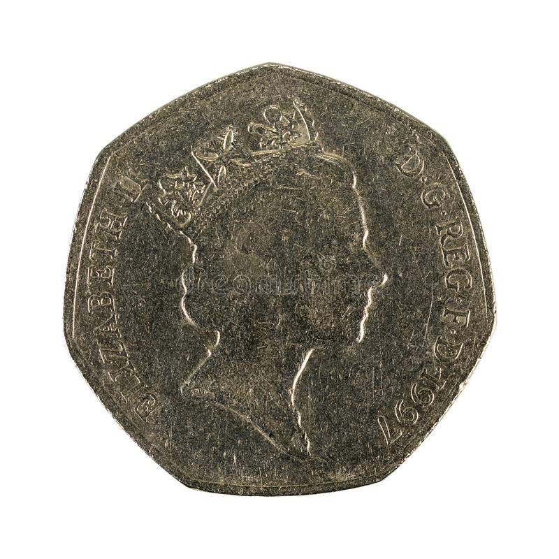 Vijftig Britse pence muntstuk geïsoleerde 1997 stock afbeeldingen