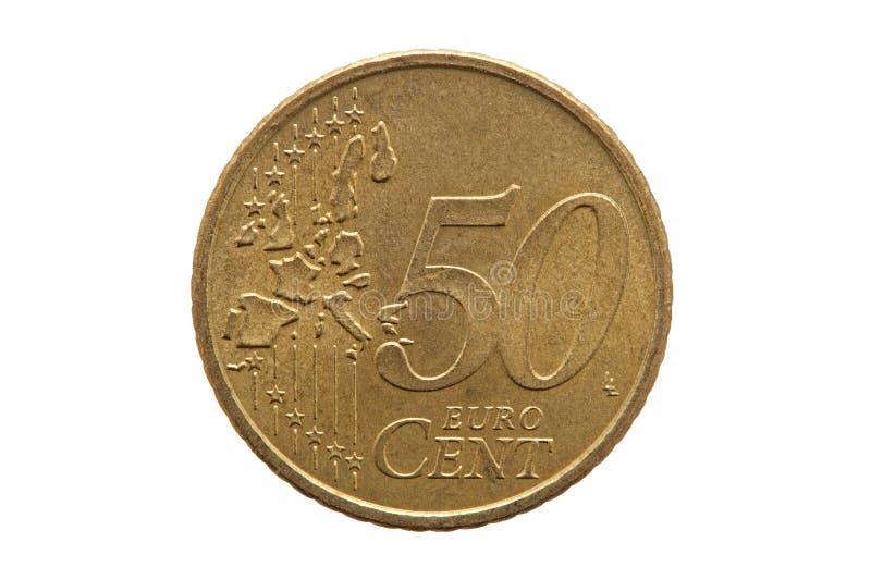 Vijftig cent euro muntstuk stock afbeeldingen