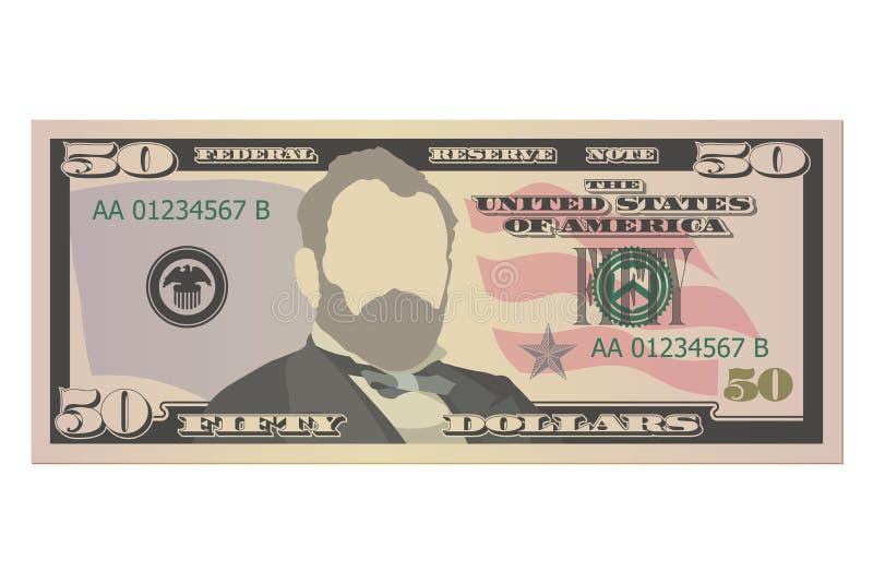 Vijftig dollarsrekening 50 Amerikaanse dollars bankbiljet, vooraanzicht Vector illustratie op witte achtergrond royalty-vrije illustratie