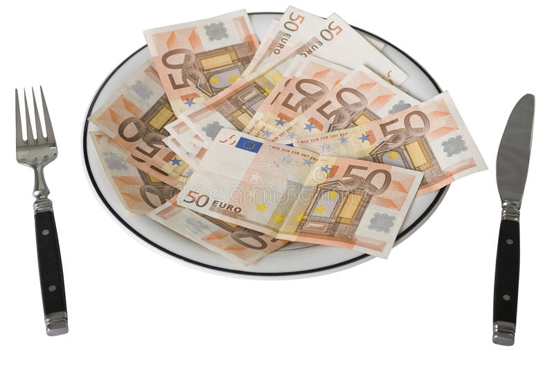 Vijftig Euro Bankbiljetten op een plaat stock afbeelding