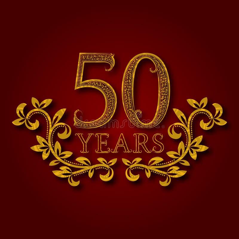 Vijftig gevormde verjaardagsjaar van de viering logotype 50ste verjaardags uitstekend gouden embleem vector illustratie