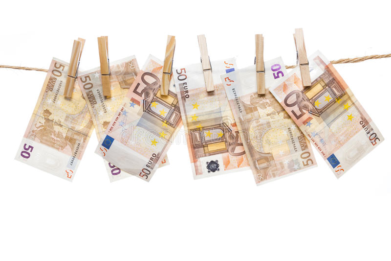 Vijftig het euro nota's hangen stock foto's