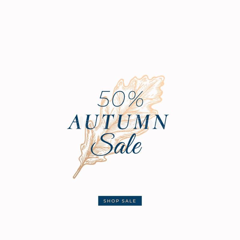 Vijftig Percenten Autumn Sale Abstract Vector Retro Etiket, Teken of Kaartmalplaatje Hand Getrokken Gouden Eiken Bladschets vector illustratie