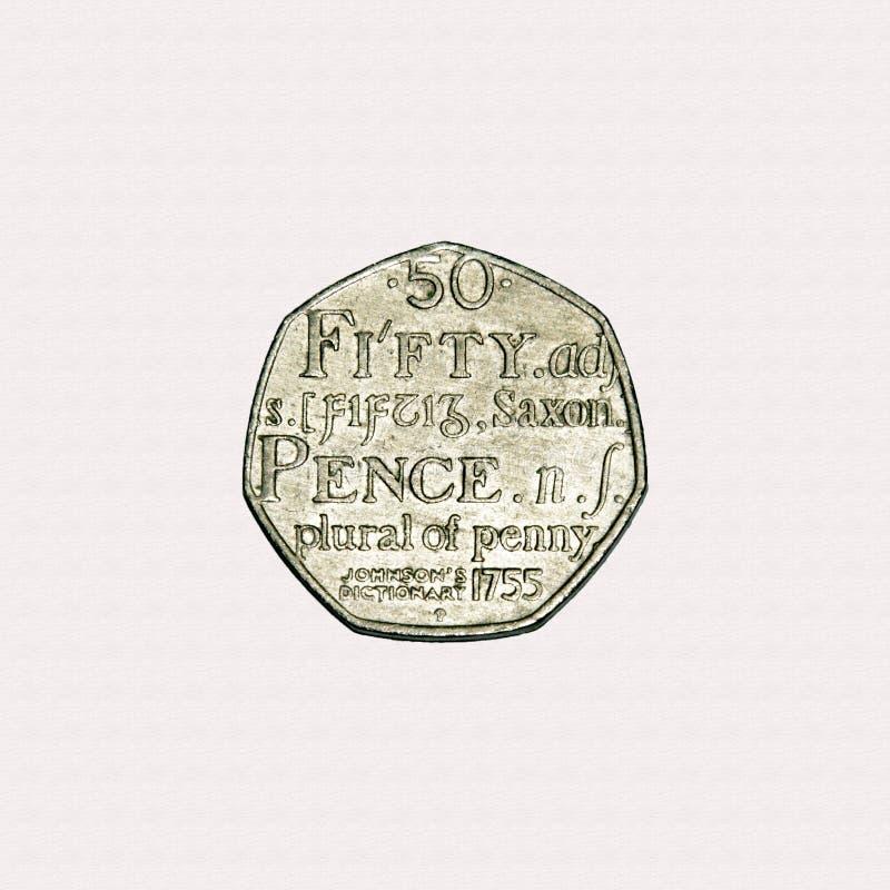 Vijftig van het woordenboek50p pence stuk royalty-vrije stock foto's