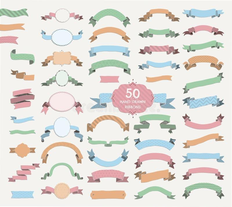 Vijftig Vector Kleurrijke Hand Getrokken Linten, Banners, Kaders vector illustratie