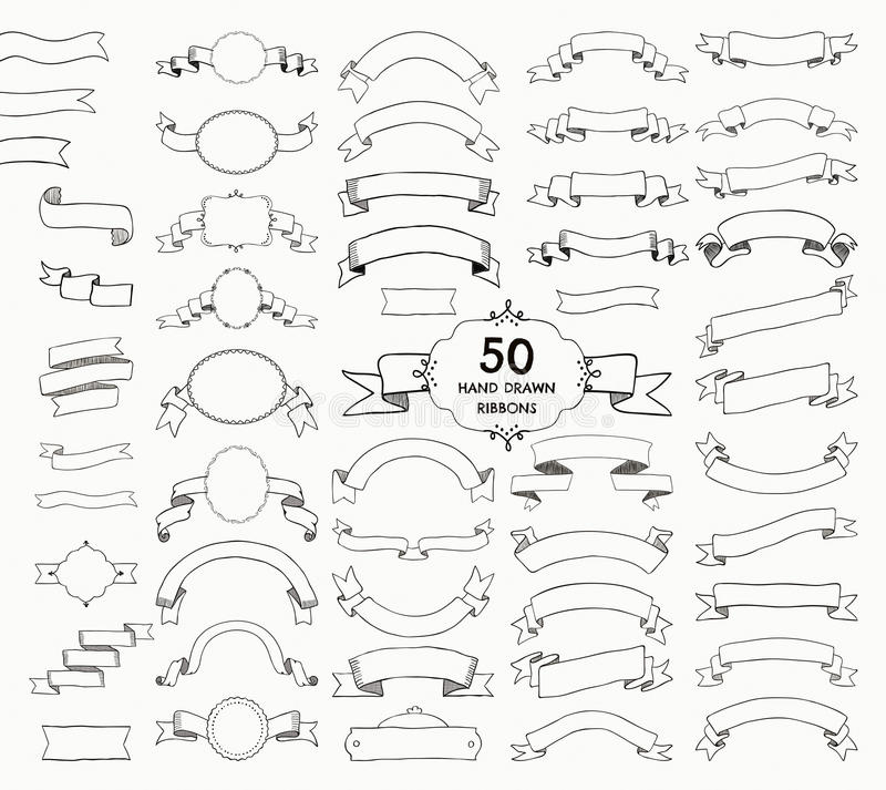 Vijftig Vector Zwarte Hand Getrokken Linten, Banners, Kaders stock illustratie