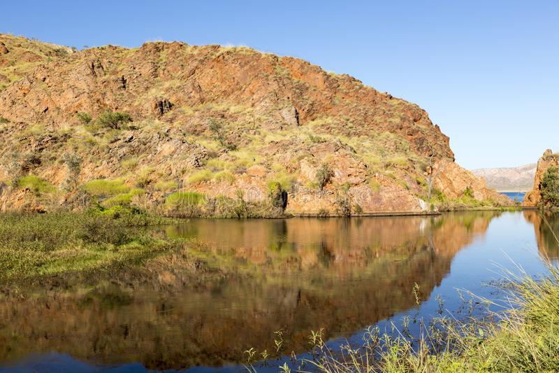 Vijver bij rand van Meer Argyle Western Australi stock afbeelding