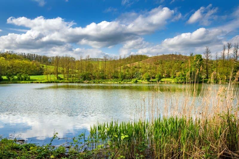 Vijver in de lenteplatteland onder mooie bewolkte hemel stock afbeelding