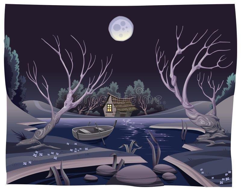 Vijver in de nacht. royalty-vrije illustratie