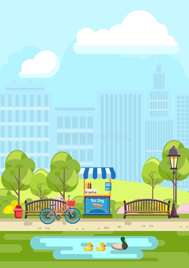 Vijver en banken in stadspark royalty-vrije illustratie