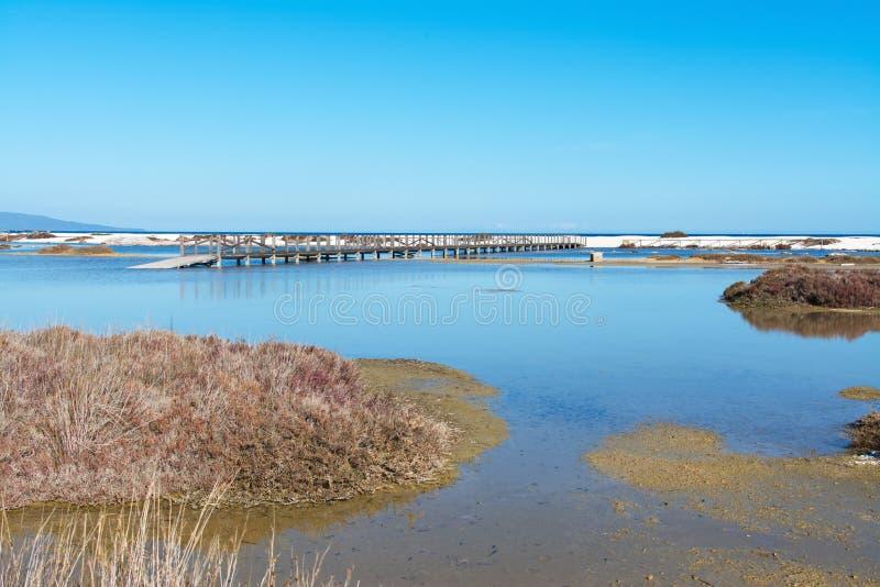 Vijver in het Saline strand van Le royalty-vrije stock afbeelding
