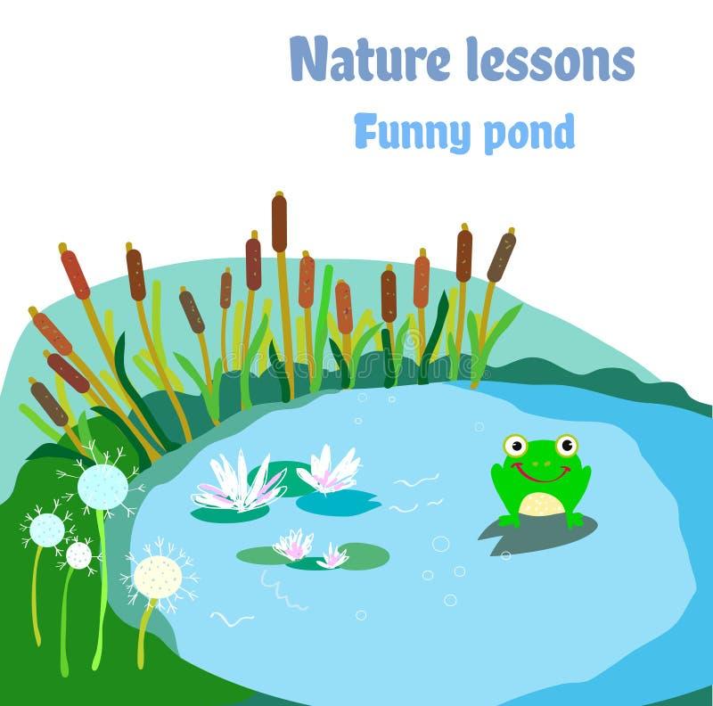 Vijver, kikker en bloemen - illustratie voor ecosysteem Grafische vector vector illustratie