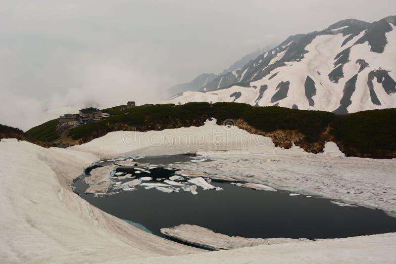 Vijver mikuriga-Ike in de lente Murodo De Alpiene Route van Tateyamakurobe japan royalty-vrije stock foto's