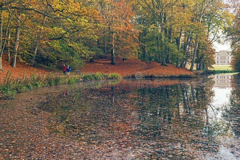 Vijver in park door de herfstbomen die wordt omringd royalty-vrije stock afbeelding