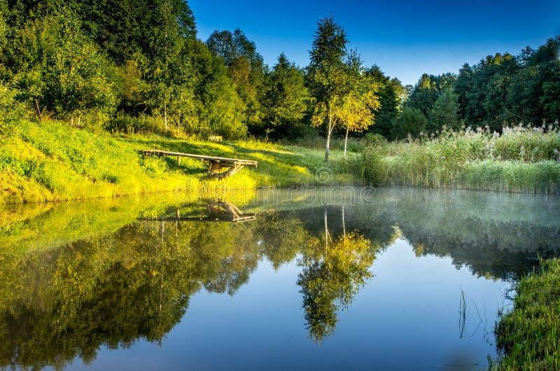 Vijver weinig meer Litouws toneellandschap stock afbeeldingen