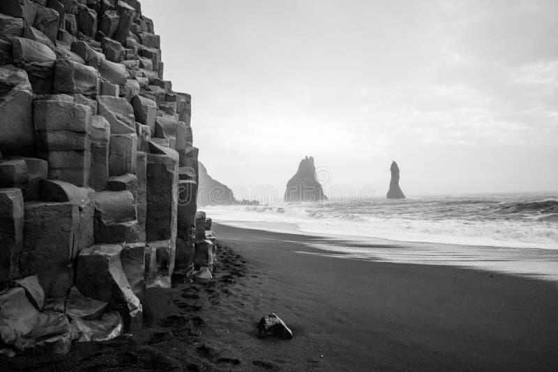 Vik czerni piaska plaża obrazy royalty free
