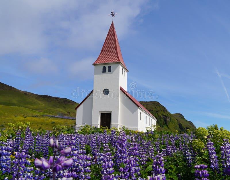 Vik I Myrdal kyrka i den Vik byn Island royaltyfri foto