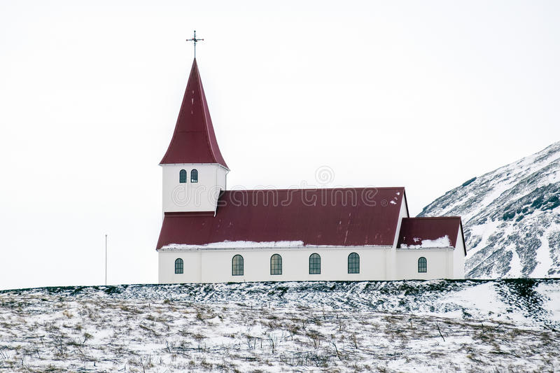 VIK/ICELAND - FEB 02 :View of the Church at Vik Iceland on Feb 0. 2, 2016 stock image