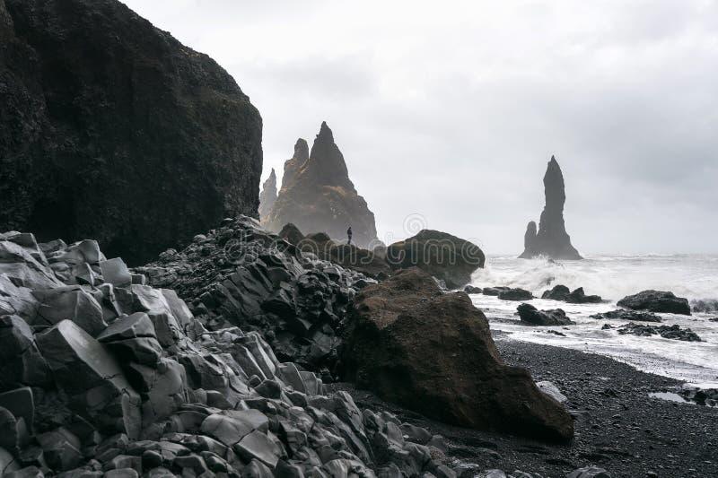 Vik und Basaltsäulen, schwarzer Sand-Strand in Island lizenzfreies stockfoto