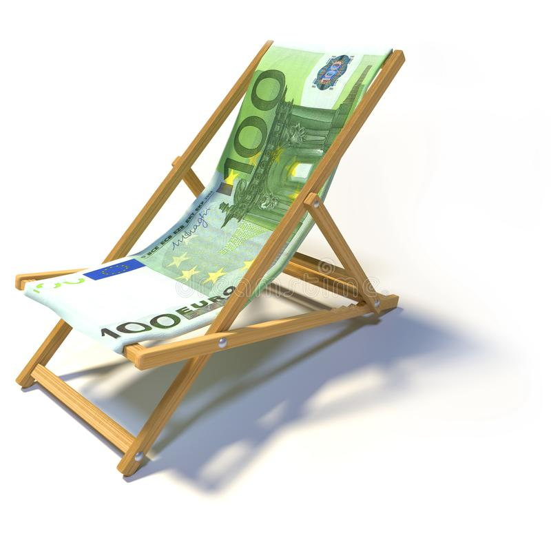 Vikande deckchair med euro 100 royaltyfri illustrationer