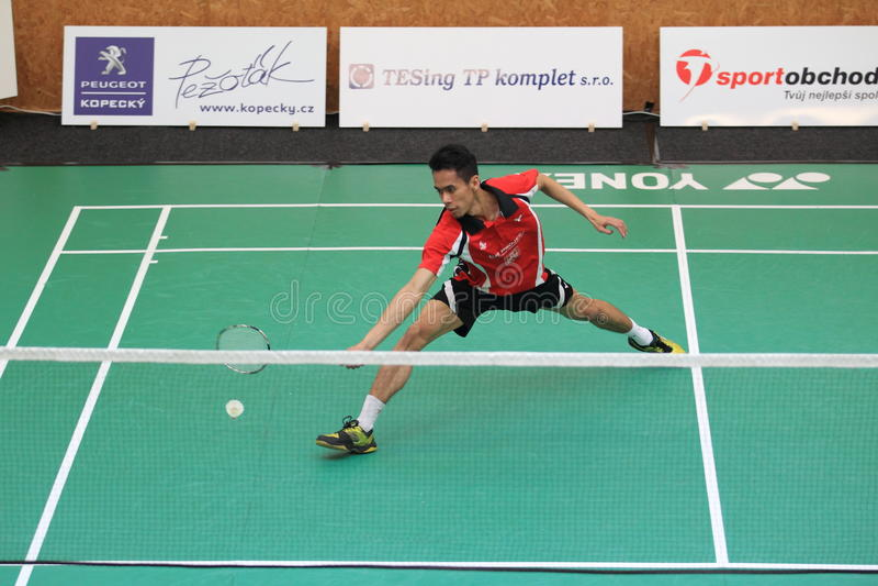 Viki Indra Okvana - badminton. Viki Indra Okvana from Indonesia in the final of czech extraleague between Bno Jehnice and Benatky nad Jizerou. It was played on stock image