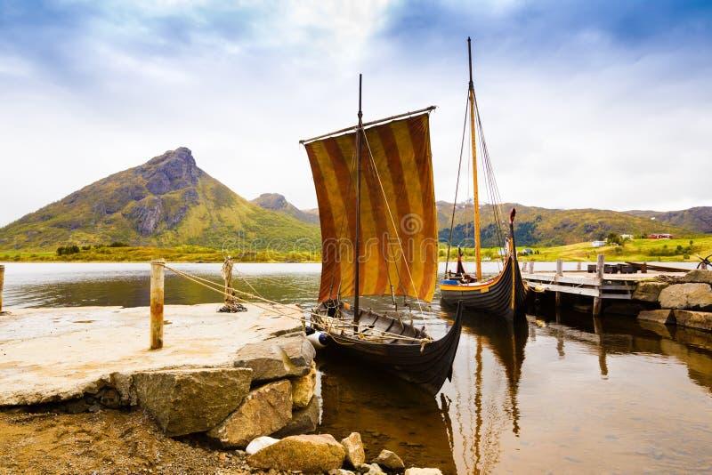 Viking łodzie w Norwegia zdjęcie royalty free