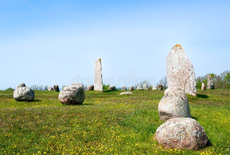 Viking age burial ground royalty free stock photo
