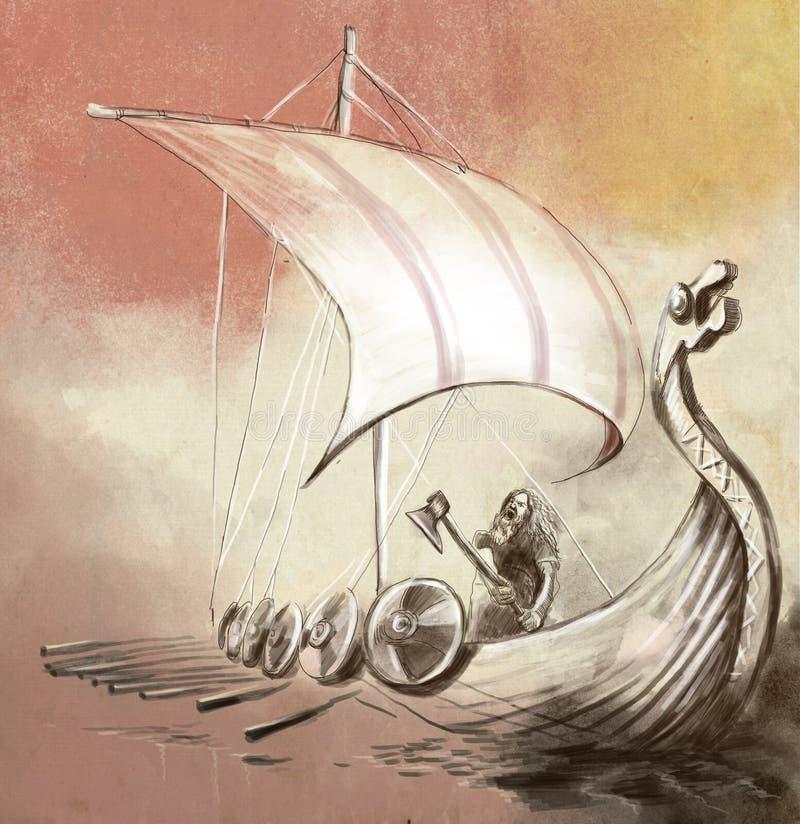 Viking Age Schiff und Krieger Drekar mit der Axt, die auf Boa steht stock abbildung