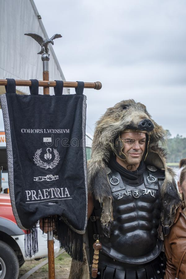Viking-Ausschiffung in Catoira lizenzfreies stockbild