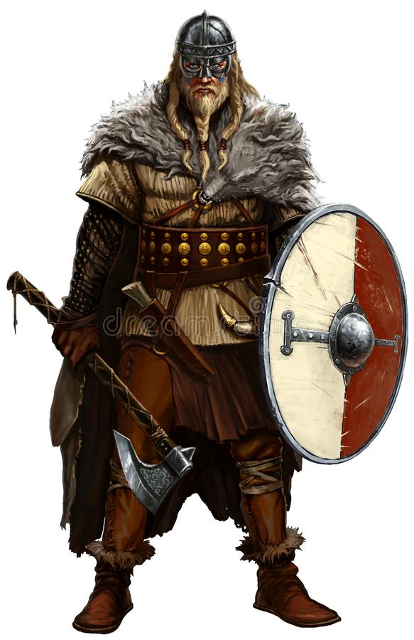 Viking with ax and shield on white. royalty free illustration
