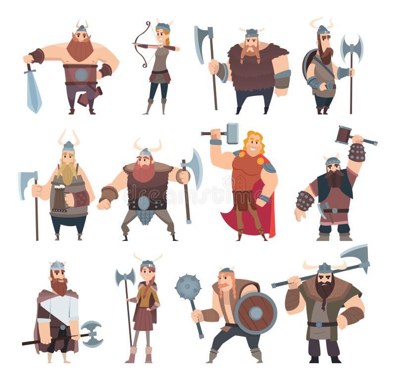 Viking-beeldverhaal Skandinavische mythologyy van het kostuumvikingen van karaktersnoorwegen de strijders mannelijke en vrouwelij vector illustratie