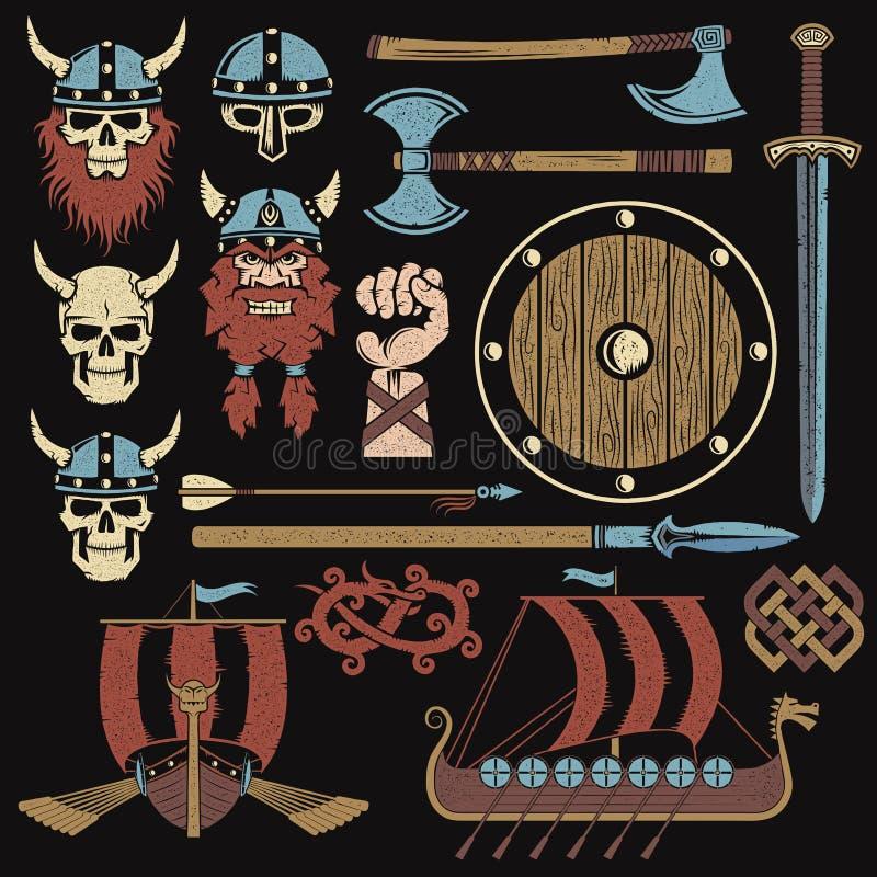 Viking beståndsdelar vektor illustrationer