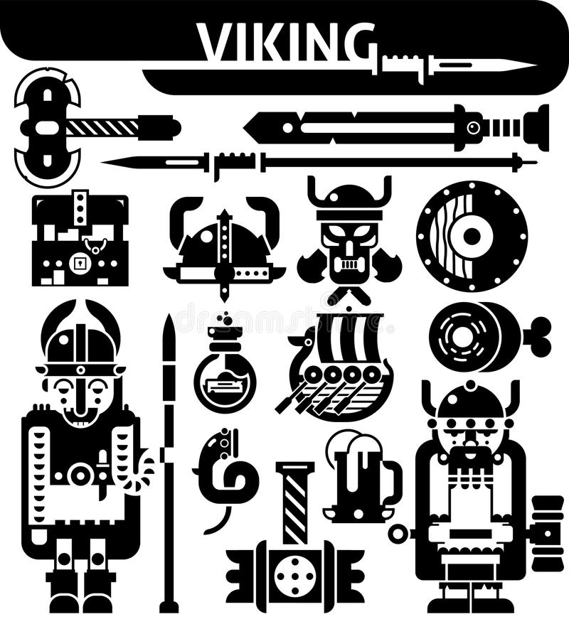 Viking Black White Icons Set stock de ilustración