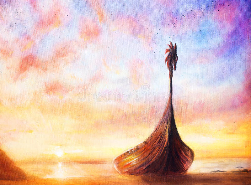 Viking Boat on the beach, painting on canvas, Boat with wood dragon stock illustration