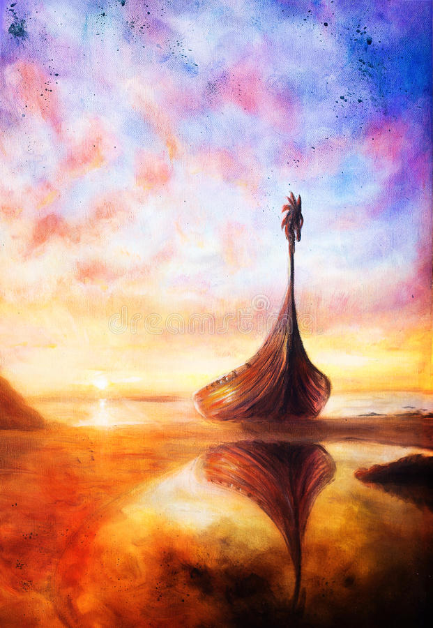 Viking Boat On The Beach And Woman Eye Boat With Wood