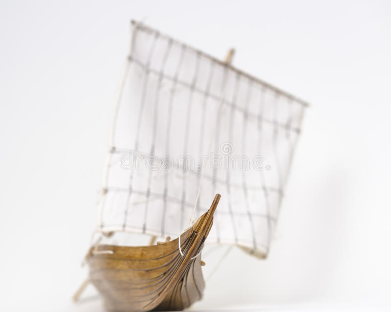 Viking boat model. Wooden model Viking ship . Background blur. A small depth of field royalty free stock image