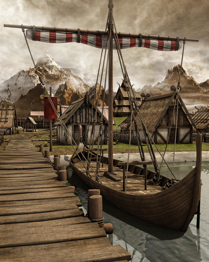 Viking boat in a village. Old Viking boat in a medieval village in the mountains vector illustration