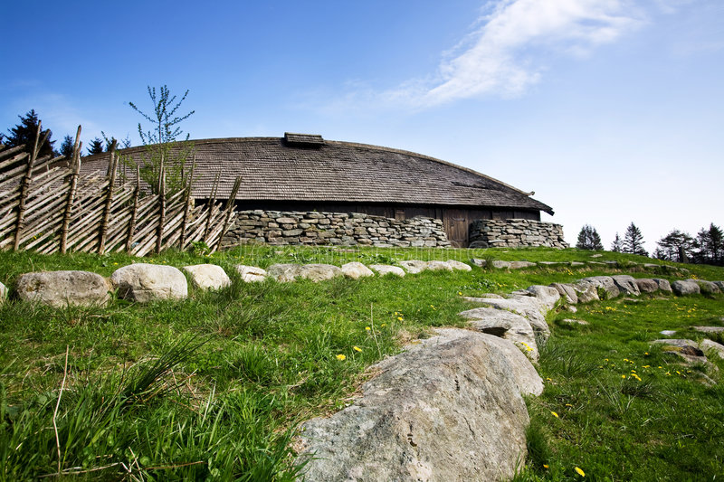 Viking Building. A viking longhouse on the coast of Norway royalty free stock photo
