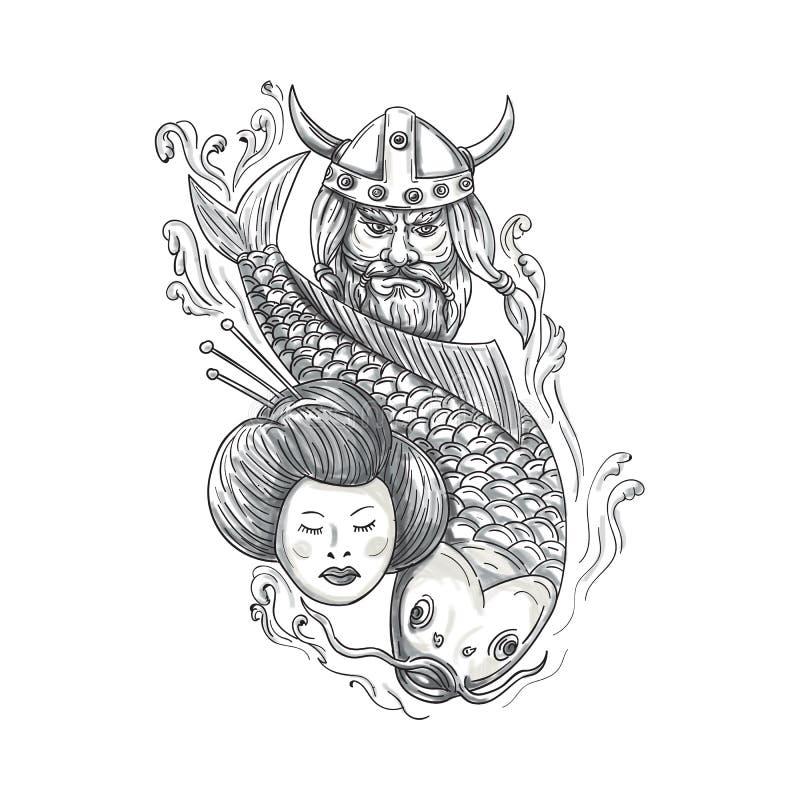 Viking Carp Geisha Head Tattoo illustration libre de droits